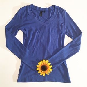 Blue Cynthia Rowley long sleeve v-neck t shirt med